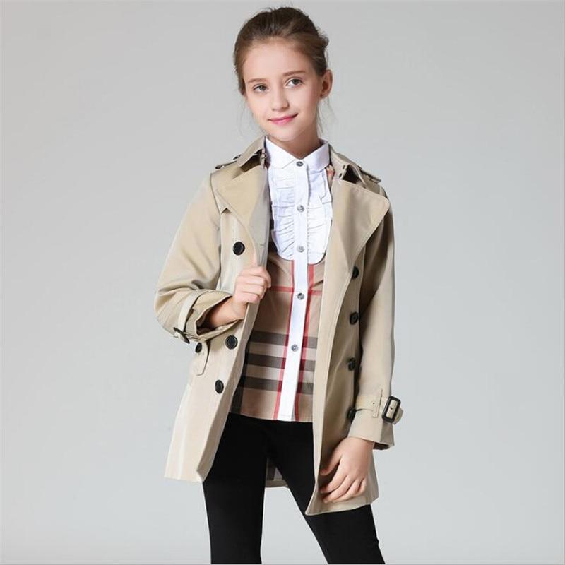 Top Grade Girls Trench Coat Spring Autumn Girls Long Coat Girls ...