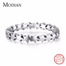 Фотография Moidan Genuine Star Real 925 sterling silver jewelry Trail Stackable Wedding Finger Stars Ring New Fashion Style For Women Rings