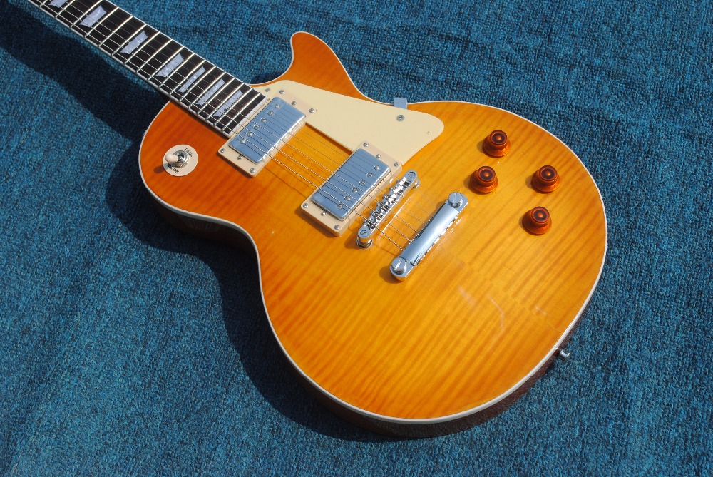 Human in Stock 1959 R9 honey Burst Chinese LPaul LP Style Standard Electric Guitar with EMS Free Shipping new 1959 r9 les tiger flame paul electric guitar standard lp 59 standard in stock ems fast shipping vintage sunburst terry burst