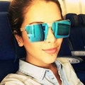 2017 Women Sunglasses Unique Brand Designer Oversize Square Mirror UV400 Falt Vintage eyeglasses frames for Women Men Gafas