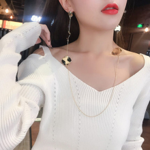 Trend Flash Drill Long Paragraph Accessories Link Gold Silver Color Tassel Creative Necklace One Piece torque