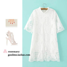 2016 new spring Lace Cute Fit and Flare Solid Dress Knee-Length O-Neck Dress