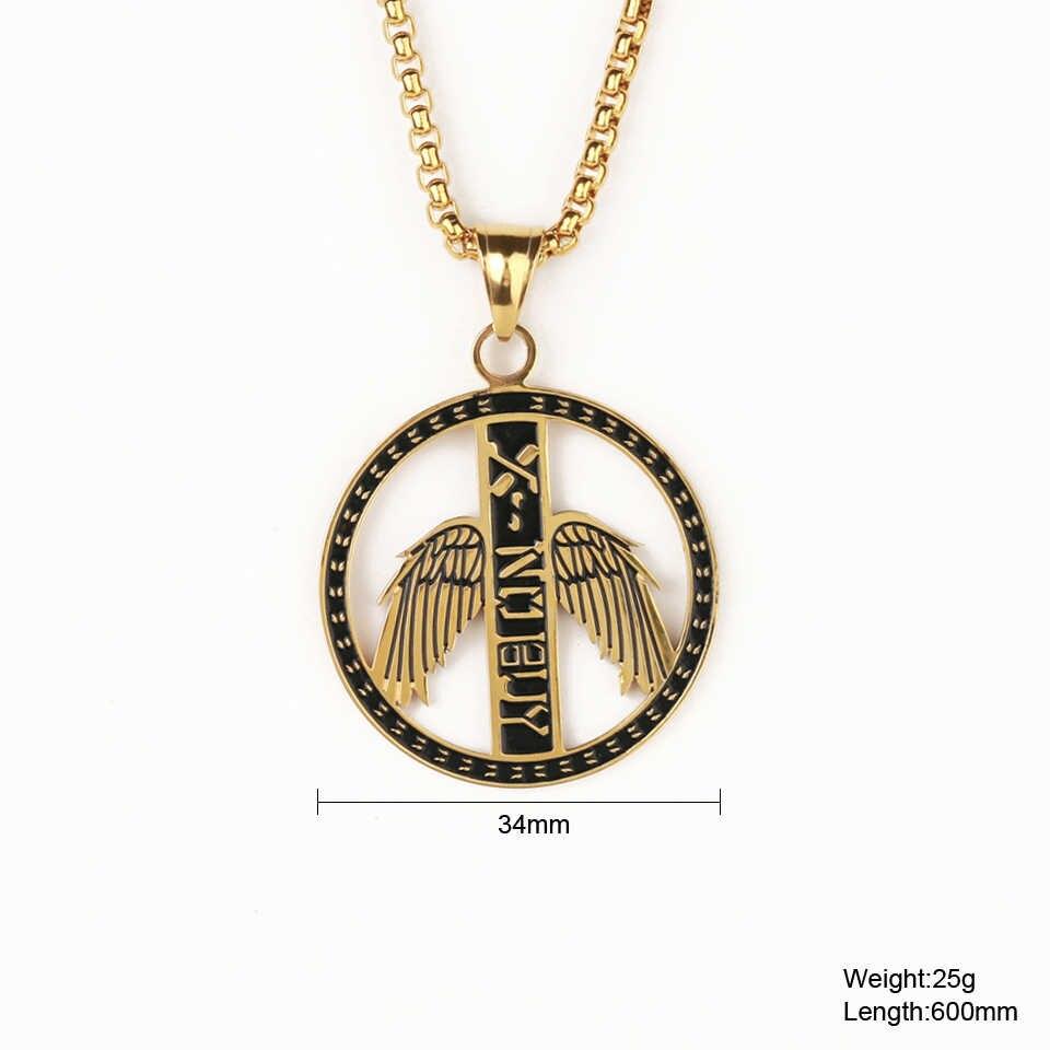 Подвеска ангела с крыльями из нержавеющей стали, ожерелье для мужчин, хип-хоп рок, счастливое ювелирное изделие, Золотое серебро, подарочное ожерелье-цепочка