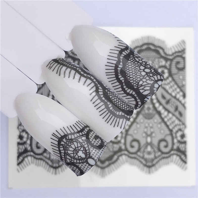 1 PC Black Lace Nail Art Flower Water Transfer Stickers Sexy Nail Tips Decals Beauty Manicure Decor Tools