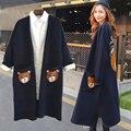 2016 Осень Женщины Пончо Длинный Кардиган Swearter Медведь Pattern Карманы Полный Рукав V-образным Вырезом Негабаритных Кардиган Свитер Пальто Женщин