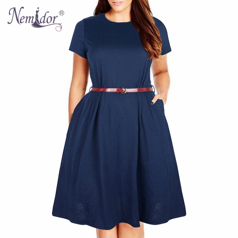 Nemidor Women Summer Vintage Short Sleeve 50s Party Belted A-line Dress Stretchy Midi Plus Size 7XL 8XL With Pockets Swing Dress