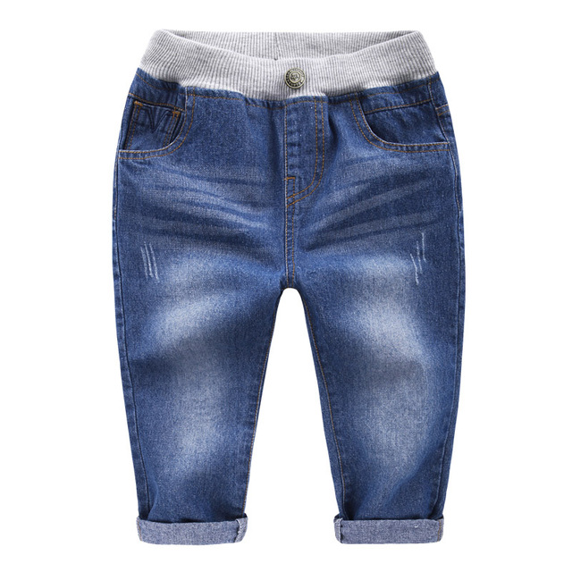 2016 New Fashion Kids Jeans Elastic Waist Straight Cartoon Jeans Denim Seventh Pants Retail Boy Jeans For Kids
