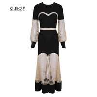 KLEEZY New Arrival 2018 O Neck Open Work Patchwork Hollow Out Long Sleeve Autumn Spring Women