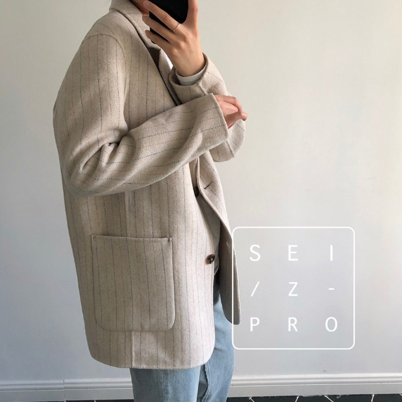 High Quality 2019 Women 39 s Coat Autumn Winter Double sided Cashmere Retro Simple Striped Suit Loose Wild Female Woolen Small Coat in Jackets from Women 39 s Clothing