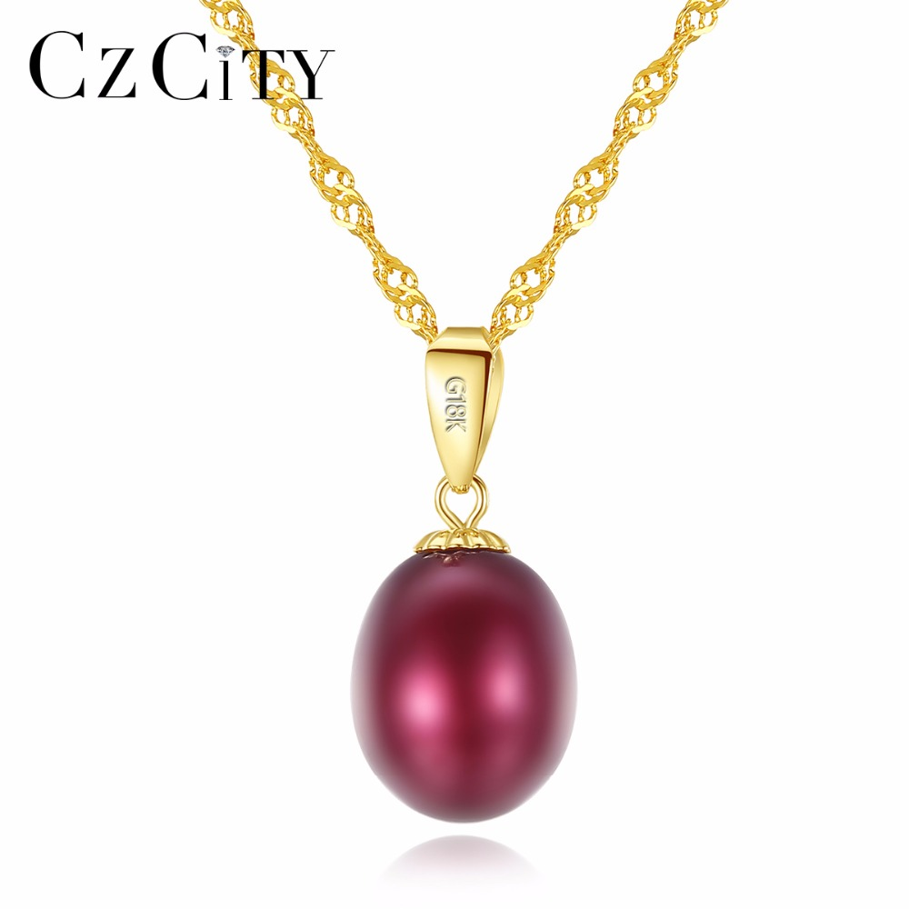 CZCITY 18K Yellow Gold Pendant Six Colors Natural Freshwater Pearl Pendant Free 925 Water wave Necklace 40+5cm Gift for WomenCZCITY 18K Yellow Gold Pendant Six Colors Natural Freshwater Pearl Pendant Free 925 Water wave Necklace 40+5cm Gift for Women