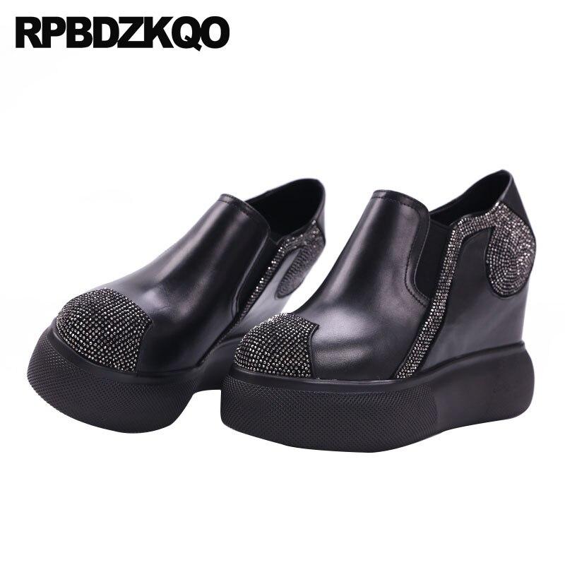 Caché super bout rond pompes plate-forme extrême wedge diamant cristal chaussures femmes 2018 talons hauts noir augmenter ultra fait à la main