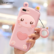 Lofter Lovely Cute Rabbit Rubber Soft Phone Case For iPhone 7 8 Plus Silicone Girls Back Cover Ring holder Cord Shockproof