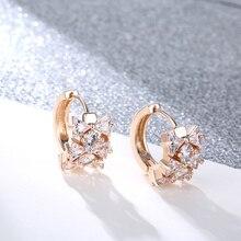 FYM Luxury 3 Colors Flower Hoop Elegant Womens Earrings AAA Cubic Zirconia Ear Jewelry Earring for Women Wedding Party be 8 luxury crystal aaa cubic zirconia hoop earrings for women jewelry fashion wedding brincos party hoop earring wholesale e607