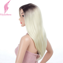 Yiyaobess 24inch Dark Roots Blonde Ombre Wig Long Straight Synthetic Hair Natural Womens Wigs For African Americans