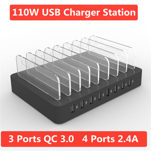 Image 2 - Fast Charger For Iphone Samsung 3 Ports Qc 3.0 Quick Charge Multi Usb Ports Charging Dock Station Desk Phone Organizer Multiple