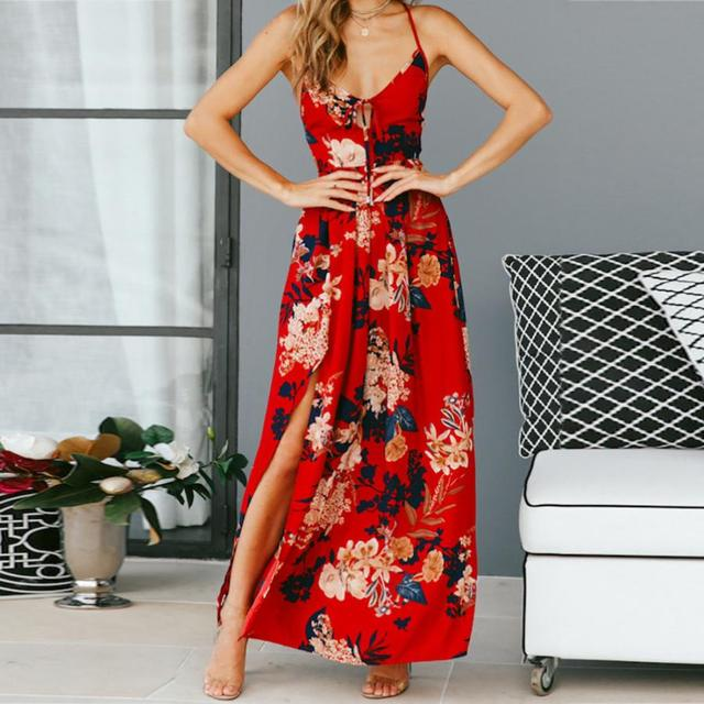 c07876e59a5ec US $14.9 |FeiTong Sexy floral print red maxi dress women Bandage Cross v  neck beach dress women High waist split long dress holiday 2018-in Dresses  ...