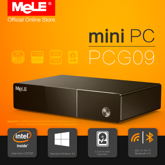 Fanless Windows 10 Mini PC Desktop MeLE PCG09 2GB 32GB Intel Bay Trail Atom Z3735F SATA HDD M.2 SSD HDMI VGA LAN WiFi Bluetooth