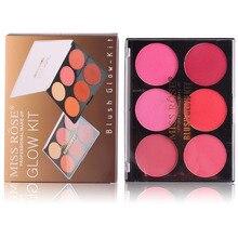 MISS ROSE Paleta 6 Cores de Maquiagem Profissional Blush Que Brilham Contorno Bronzer Blush Mineral Natural Em Pó Colorete Kit Brilho