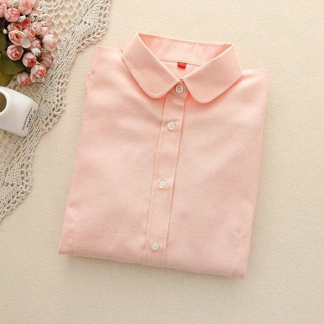 FEKEHA Для женщин 2018 Блузы с длинным рукавом хлопок Оксфорд женские топы офис рубашка с длинными рукавами Для женщин Blusas Camisas Mujer