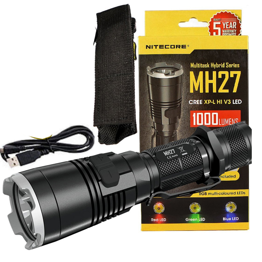 NITECORE MH27 USB Rechargeable Flashlight CREE XP-L HI V3 1000 Lm RGB High Bright Torch Without 18650 Battery Free Shipping