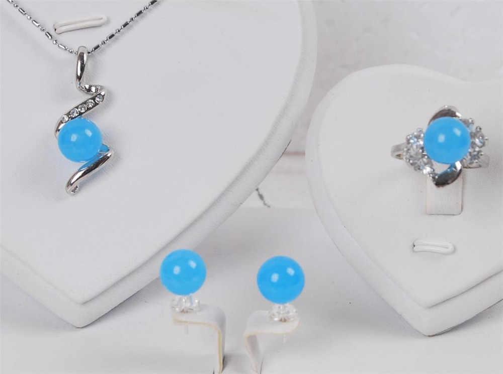 DYYจัดส่งฟรี>>@>จัดส่งฟรี00710สีน้ำเงินหยกลูกปัดแหวนต่างหูจี้สร้อยคอชุดเครื่องประดับธรรมชาติ