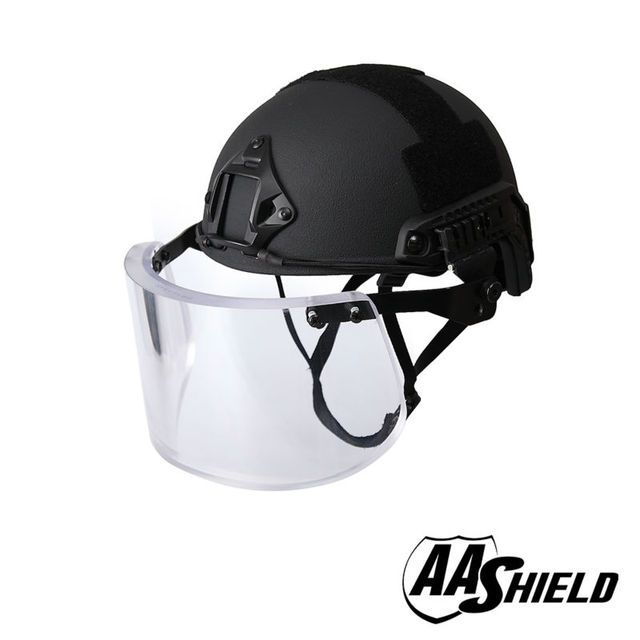 AA ACH Ballistic Shield Alta Corte Tactical Capacete de Segurança À Prova de Balas Máscara de vidro Corpo Armadura Kit de Aramida Núcleo IIIA NIJ 3A preto