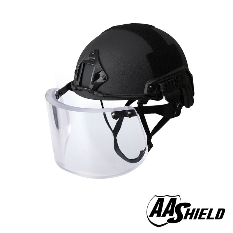 AA bouclier balistique ACH haute coupe casque de sécurité tactique pare-balles en verre masque armure corporelle aramide Core NIJ IIIA 3A Kit noir