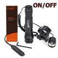 1 Mode CREE XM-L T6 White /Green /Red/Blue Light Color LED Tactical Hunting Flashlight 501B Torch With Switch Rifle Gun Mount