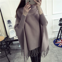 2016 New Winter Sweater Shawl Turtleneck Turtleneck Bat Sleeve Jacket Sweater Dress Color Tassel