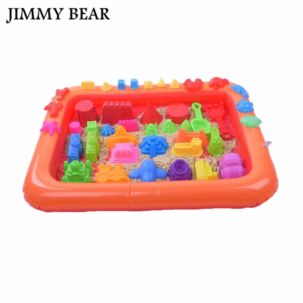 JIMMY BEAR 5 Pcs/Set Inflatable Sand Tray Plastic Table Children Kids Indoor Playing Sand Clay Toys