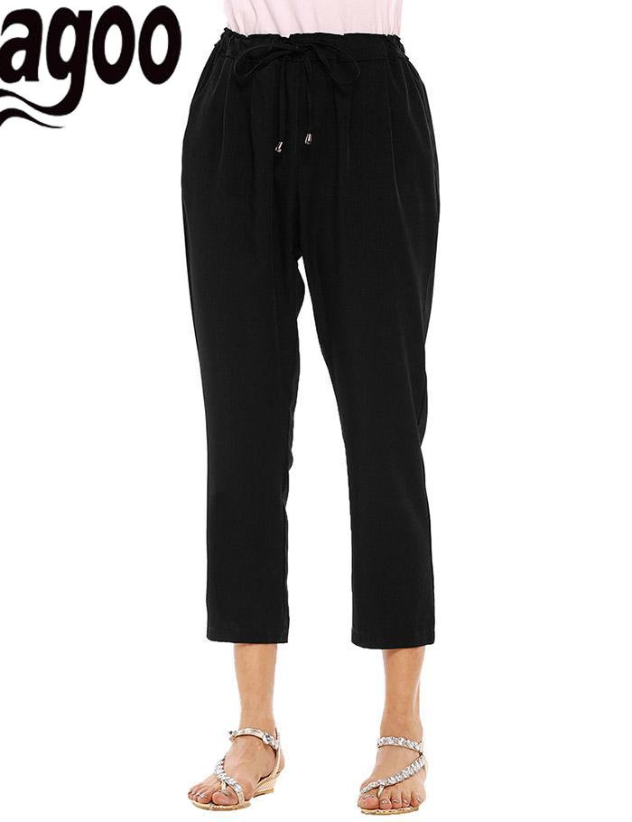 None Cotton Pull On Drawstring Waist Pleated Casual Women Capri Pants with Pockets