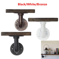 Bathroom Shelves Industrial Retro Iron Pipe Shelf Rack Wall Mount Display Holder Wood Storage With Single