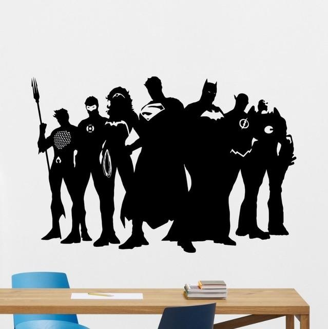 FREE SHIPING DIY Superhero Wall Decal Marvel DC Comics Vinyl Sticker  Superman Batman Vinyl Decal Wall