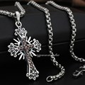 Passion of Christ 925 Sterling Silver Garnet Cross Mens Pendant 8Q005(Necklace 24inch)