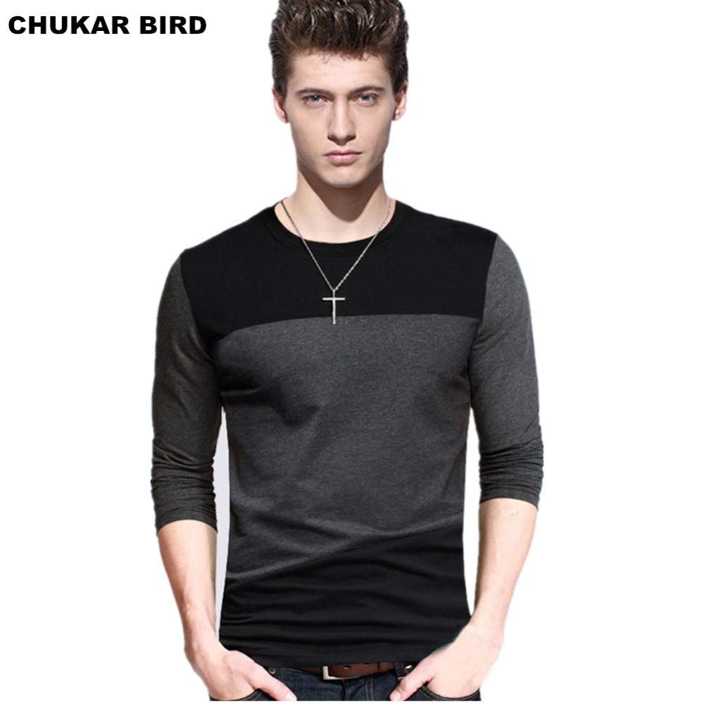 Chukar bird mens casual t shirts tops tee crew neck long for Mens slim fit long sleeve t shirts