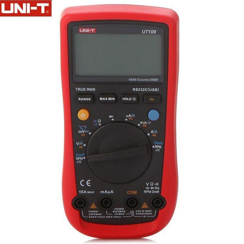 UNI-T UT109 Auto Range Multi-Purpose Meter Automotive Multimeter Tester with Dwell-Tach/RPM Measurement uni uni t ut136b дешевый метр autoranging