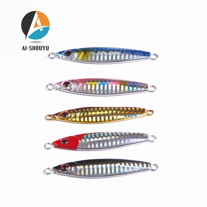AI-SHOUYU Jig 30g 80mm Knife Jigging Seawater Spoon Slow Jigging Lure Artificial Bait Boat Fishing Jigs Hard Lures