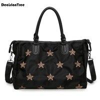 Simple Female Star Pattern Luggage Bag Korean Style Large Capacity Short Travel Duffle Bag Waterproof Oxford Shoulder Bag L495