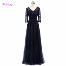2018 Long A line Lace Evening Dresses Tulle Sleeved Beading Abendkleider Luxury Women Formal Dresses Mother of the Bride B20(China)