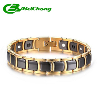 Beichong Black/gold Ceramic Bracelet Magnetic Stone Therapy Health Stainless Steel Bracelets Men's Jewelry 21*12 mm pulseras