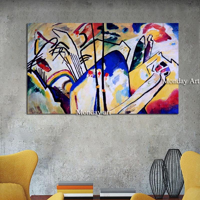 Peint à la main Kandinsky abstrait célèbre toile peinture rouge jaune bleu Art mur photo pour salon décoration de la maison affiches