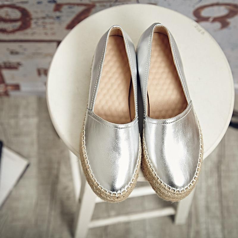 Cuero on Mujeres Mocasines Slip Oro Bottom Cáñamo Alpargatas De silver Zapatos Gold Marca Genuino Plata Plataforma Diseñador Las FzqrFA