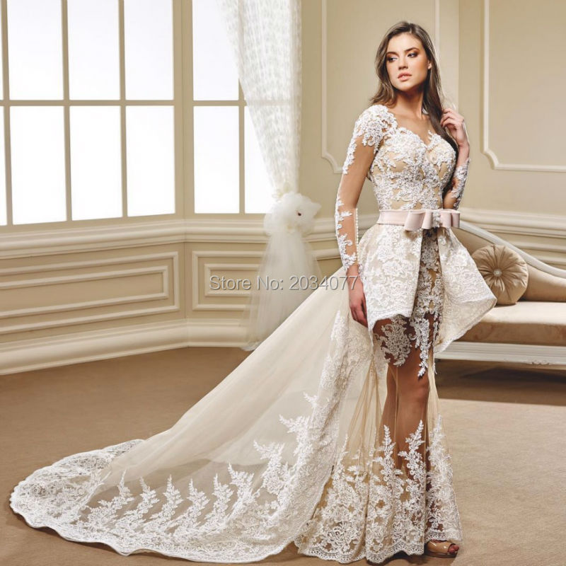 New Year 2017 Detachable Wedding Dress 2 In 1 Lace Long Sleeve ...