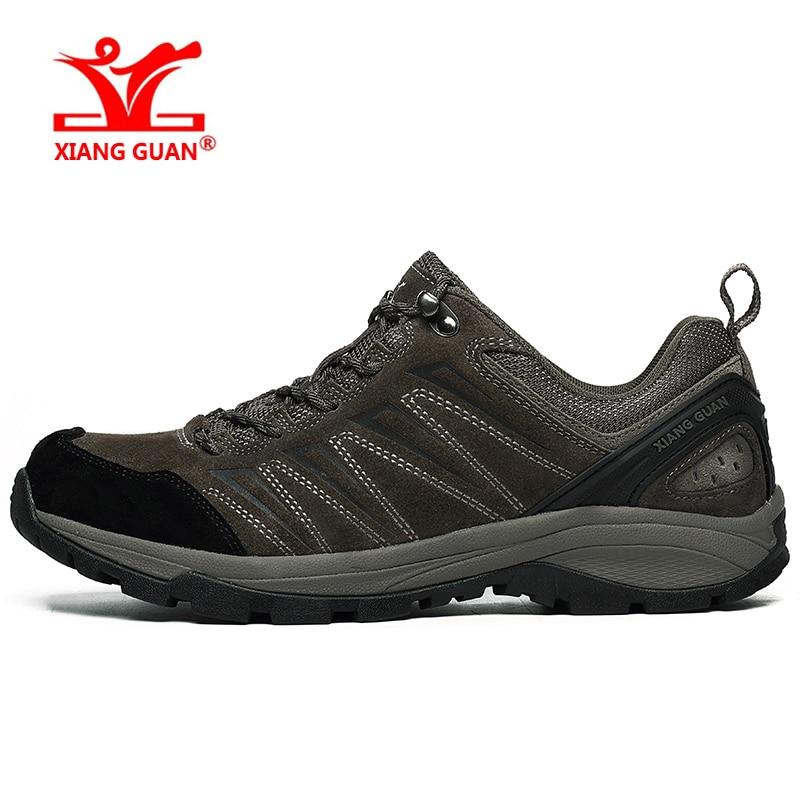 XIANGGUAN Walking Shoes Waterproof For Men Hiking Sneakers Man Trekking Outdoor Climbing Antiskid Gray Black Brown Size 39-45 xiangguan brand hiking shoes for men