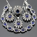 Women Silver Color Party Jewelry Sets Dark Blue Created Sapphire White CZ Necklace Pendant Bracelets Earrings Rings