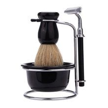 Mens Shaving Set Bristle Hair+Stainless Steel Stand +Bowl+ Razor+5 Pcs Replacement Razor Head Facial Cleaning Tool 4 IN 1(China)