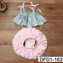 1set lot Baby Girls Flower Big Floras cotton Clothes Summer baby bloomer Clothing Cotton print