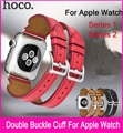 2016 Latest Double Buckle Cuff Genuine Leather Band For Apple Watch 38mm 42mm Made By First Layer Calf Leather Also Fit Series 2