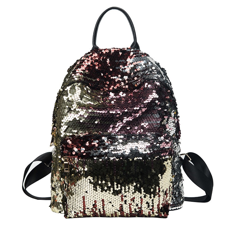 New Arrival Women All-match Bag PU Leather Sequins Backpack Girls Small Travel Princess Bling Backpacks For Teenagers School Bag