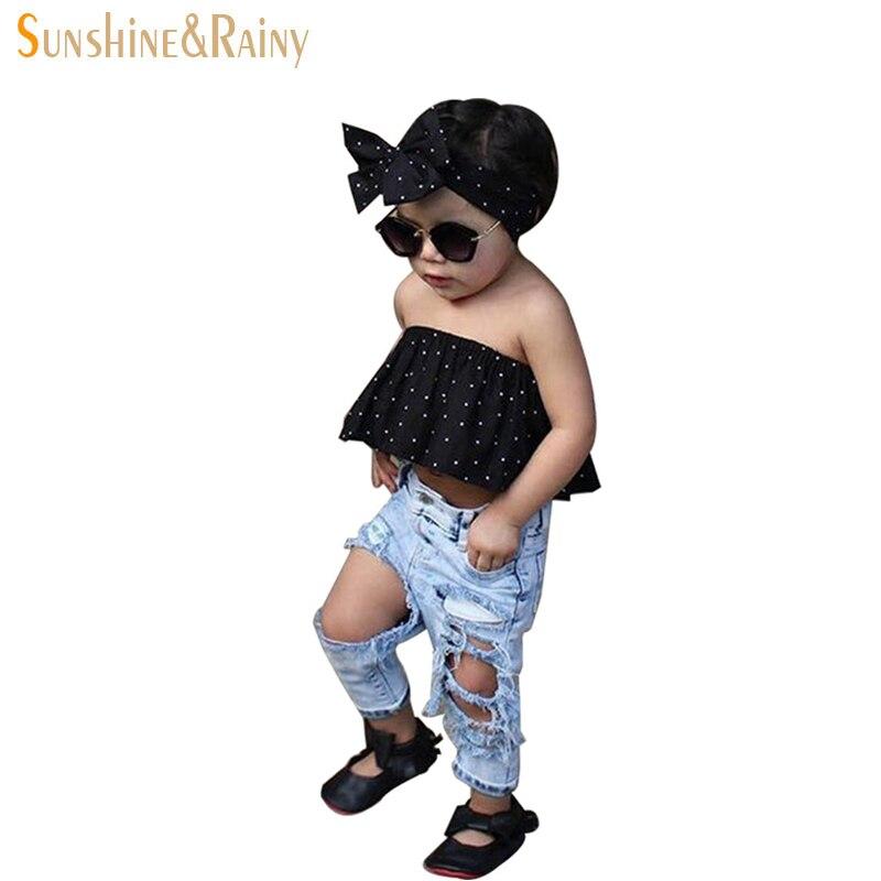 Ins Kids Ripped Jeans Boys Girls Knitted Denim Pants Infant Girl Pants Blue Toddler Jeans Children Summer Fashion  denim